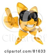 Royalty Free RF Clipart Illustration Of A 3d Sun Guy Wearing Shades Giving The Thumbs Up by Julos