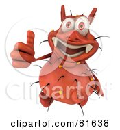 Royalty Free RF Clipart Illustration Of A 3d Rodney Germ Character Looking Up And Giving The Thumbs Up
