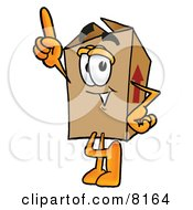 Clipart Picture Of A Cardboard Box Mascot Cartoon Character Pointing Upwards