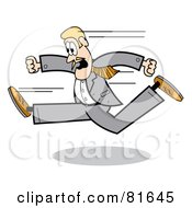 Blond Business Guy In A Gray Suit Running Left