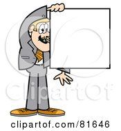 Blond Business Guy In A Gray Suit Holding A Blank Square Sign