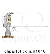 Blond Business Guy In A Gray Suit Holding A Blank Rectangular Sign