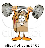 Clipart Picture Of A Cardboard Box Mascot Cartoon Character Holding A Heavy Barbell Above His Head by Toons4Biz