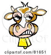 Royalty Free RF Clipart Illustration Of A Snarling Brown Cow Face With A Bell