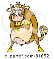 Royalty Free RF Clipart Illustration Of A Mad Brown Cow Standing With Her Arms Crossed by Andy Nortnik