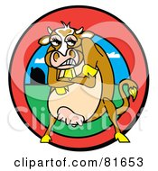 Royalty Free RF Clipart Illustration Of A Tough Brown Cow Standing With Her Arms Crossed In A Red Farm Circle by Andy Nortnik