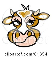 Royalty Free RF Clipart Illustration Of A Mad Brown Cow Face