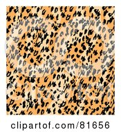 Royalty Free RF Clipart Illustration Of A Diagonal Patterned Leopard Print Background With White Edges by Andy Nortnik