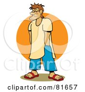 Royalty Free RF Clipart Illustration Of A Stubbly Beach Bum Man With His Hands In His Pockets In Front Of The Sun by Andy Nortnik