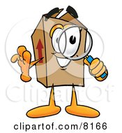 Clipart Picture Of A Cardboard Box Mascot Cartoon Character Looking Through A Magnifying Glass by Toons4Biz