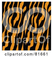 Royalty Free RF Clipart Illustration Of A Diagonal Patterned Tiger Print Background With White Edges by Andy Nortnik
