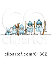 Royalty Free RF Clipart Illustration Of A Stick People Family In Ski Gear