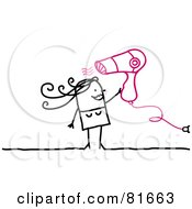 Royalty Free RF Clipart Illustration Of A Stick People Woman Blow Drying Her Hair