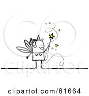 Royalty Free RF Clipart Illustration Of A Stick People Fairy Granting Wishes by NL shop