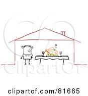 Royalty Free RF Clipart Illustration Of A Stick People Woman Standing By A Feast On A Dinner Table