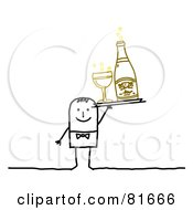 Royalty Free RF Clipart Illustration Of A Stick People Man Serving Bubbly