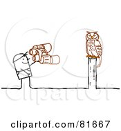 Royalty Free RF Clipart Illustration Of A Stick People Man Watching An Owl by NL shop