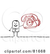 Royalty Free RF Clipart Illustration Of A Stick People Man Holding A Red Phone