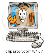 Clipart Picture Of A Cardboard Box Mascot Cartoon Character Waving From Inside A Computer Screen by Toons4Biz