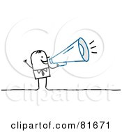 Royalty Free RF Clipart Illustration Of A Stick People Man Speaking Through A Megaphone