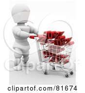 3d White Character Pushing A Cart Full Of Sales
