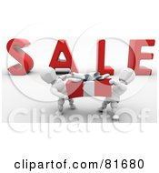 Royalty Free RF Clipart Illustration Of A Two 3d White Characters Carrying A Large Present In Front Of SALE by KJ Pargeter