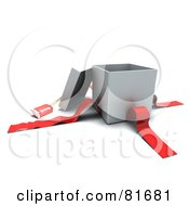 Royalty Free RF Clipart Illustration Of A 3d Open Silver Gift Box With A Red Tag And Ribbons