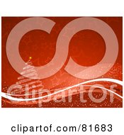 Royalty Free RF Clipart Illustration Of A Red Starry Christmas Background With Swooshes And A Spiral Tree