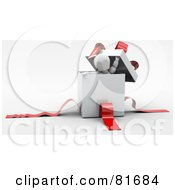 Royalty Free RF Clipart Illustration Of A 3d White Character Peeking Out Of A White Gift Box With Red Ribbons