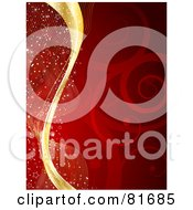 Royalty Free RF Clipart Illustration Of A Red Swirly Christmas Background With Gold Swooshes