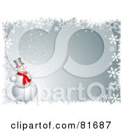 Royalty Free RF Clipart Illustration Of A Gray Winter Background With A Snowman And Snowflake Border