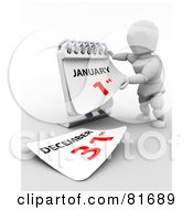 Royalty Free RF Clipart Illustration Of A 3d White Character Ripping Off A Calendar Page To The New Year