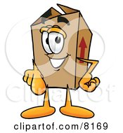 Clipart Picture Of A Cardboard Box Mascot Cartoon Character Pointing At The Viewer by Toons4Biz