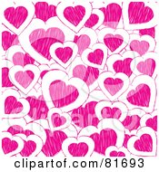Royalty Free RF Clipart Illustration Of A Background Of Pink Doodle Hearts On White by elaineitalia
