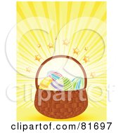 Royalty Free RF Clipart Illustration Of A Basket Of Easter Eggs On A Yellow Star Burst Background by elaineitalia