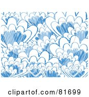 Royalty Free RF Clipart Illustration Of A Background Of Abstract Blue Scallop Sketches