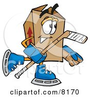 Clipart Picture Of A Cardboard Box Mascot Cartoon Character Playing Ice Hockey by Toons4Biz