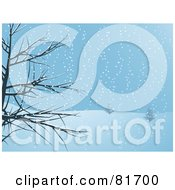 Royalty Free RF Clipart Illustration Of A Bare Tree Framing The Scene Of A Snowy Hillside