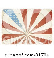 Royalty Free RF Clipart Illustration Of A Grungy Retro Antique American Flag Burst Background