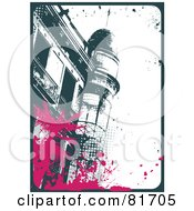 Royalty Free RF Clipart Illustration Of A Grungy Teal Barcelona Building With Pink Palm Splatters And A Teal Border