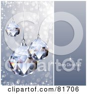 Royalty Free RF Clipart Illustration Of A Merry Christmas And A Happy New Year Greeting With Sparkling Crystal Christmas Ornaments