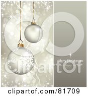Royalty Free RF Clipart Illustration Of A Merry Christmas And A Happy New Year Greeting With Sparkling Gold Christmas Ornaments
