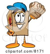 Clipart Picture Of A Cardboard Box Mascot Cartoon Character Catching A Baseball With A Glove by Toons4Biz