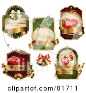 Digital Collage Of Elegant Christmas Labels With Blank Banners
