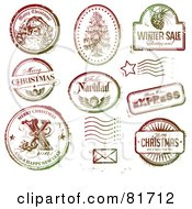 Digital Collage Of Christmas Stamp Designs