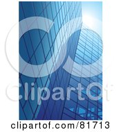 Royalty Free RF Clipart Illustration Of Tall Glass Mirror Office Buildings Under A Blue Sky