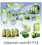 Digital Collage Of Green Shiny Bows Boxes Sale And Retail Design Elements