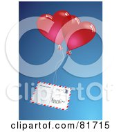 Royalty Free RF Clipart Illustration Of Red Air Mail Hearts Attached To An Envelope by Anja Kaiser