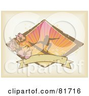 Royalty Free RF Clipart Illustration Of A Grungy Surfer Banner With Hibiscus Flowers And A Sunburst On Antique Beige by Anja Kaiser