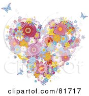Royalty Free RF Clipart Illustration Of A Colorful Floral Heart And Butterflies by Anja Kaiser
